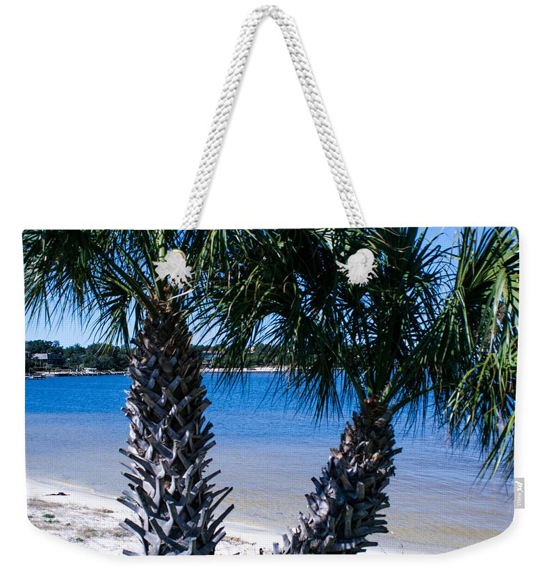Gulf Breeze Weekender Tote Bag featuring the photograph Palm Trees Of Gulf Breeze by Mechala Matthews