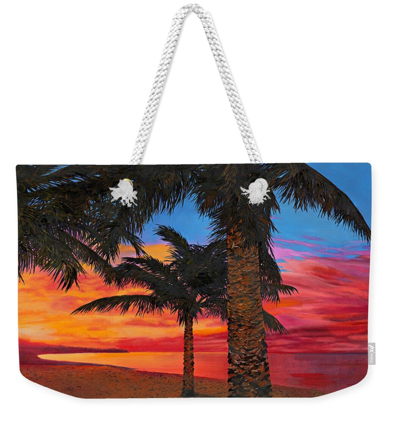 Seacape Weekender Tote Bag featuring the painting Palme Al Tramonto by Guido Borelli
