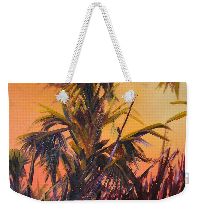 Impressionism Weekender Tote Bag featuring the painting Palmettos At Dusk by Julianne Felton