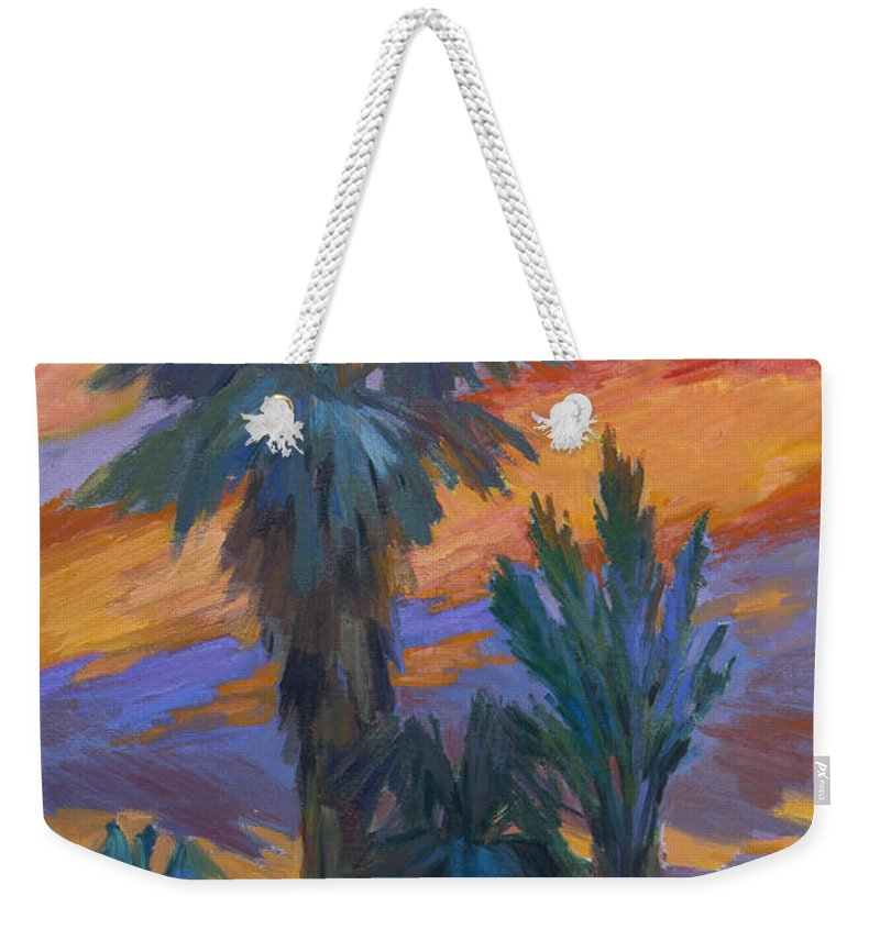 Palms Weekender Tote Bag featuring the painting Palms And Sunset by Diane McClary