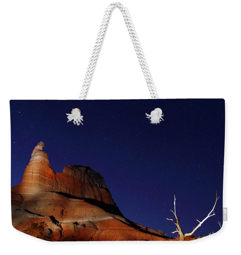 Lightpainting Weekender Tote Bag featuring the photograph Palo Duro Canyon 2am-114844 by Andrew McInnes