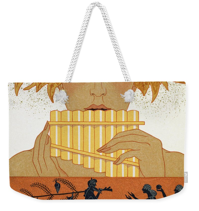 Centaur Weekender Tote Bag featuring the painting Pan Piper by Georges Barbier