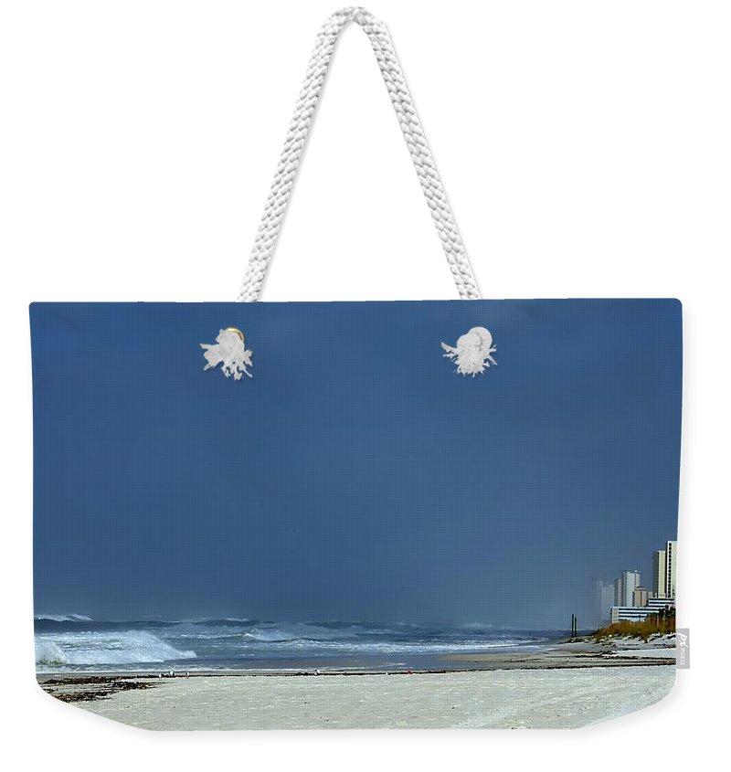 Hurricane Weekender Tote Bag featuring the photograph Panama City Beach Awaiting Hurricane Isaac by Debra Forand