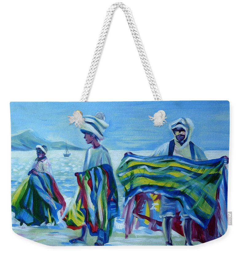 Tropical Weekender Tote Bag featuring the painting Panama.beach Market by Anna Duyunova
