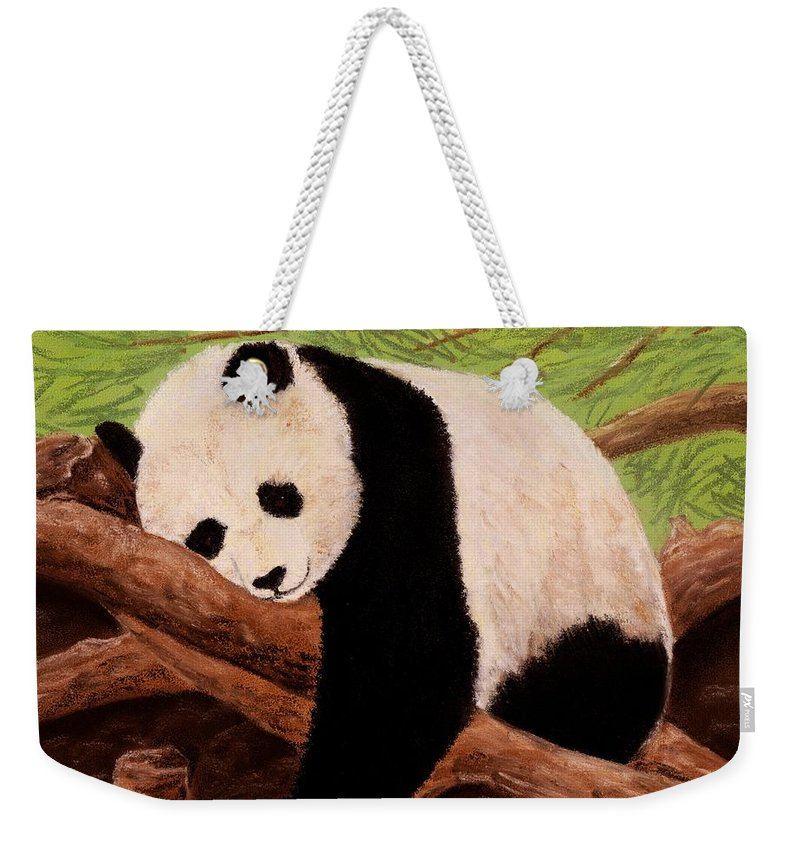 Brave Weekender Tote Bag featuring the painting Panda by Anastasiya Malakhova