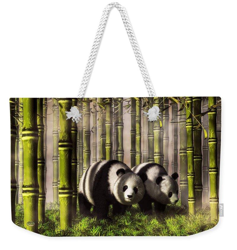 Panda Weekender Tote Bag featuring the digital art Pandas In A Bamboo Forest by Daniel Eskridge