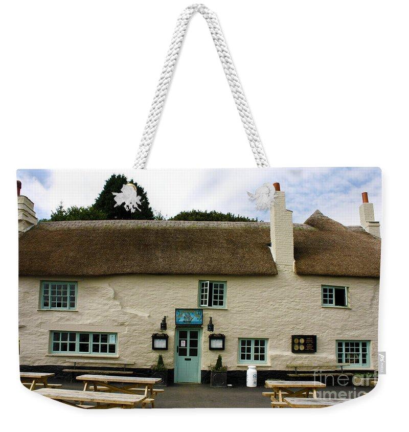 Pandora Inn Weekender Tote Bag featuring the photograph Pandora Inn Gold Post Box For Olympian Ben Ainslie by Terri Waters