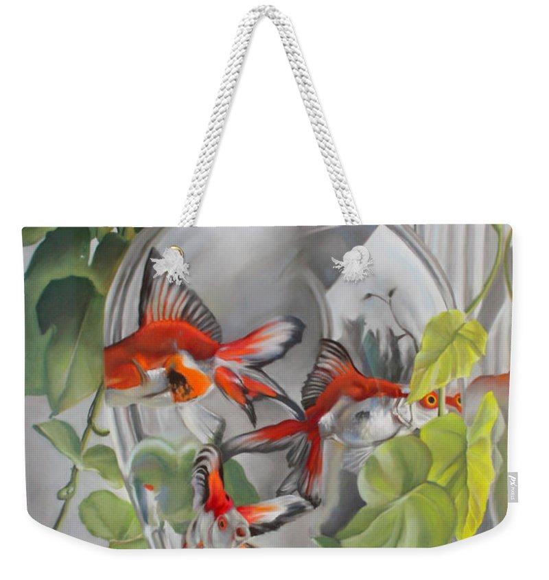 Vase Weekender Tote Bag featuring the pastel Panes by Timothy Loyd