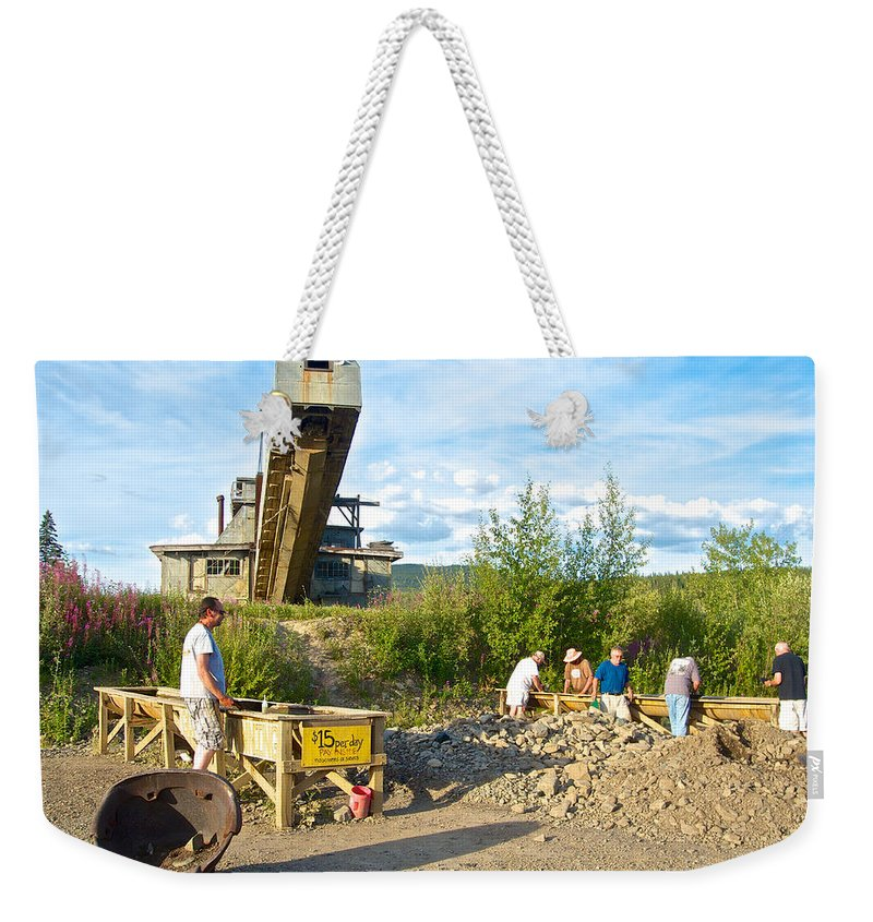 Panning For Gold Weekender Tote Bag featuring the photograph Panning For Gold In Chicken-ak- by Ruth Hager