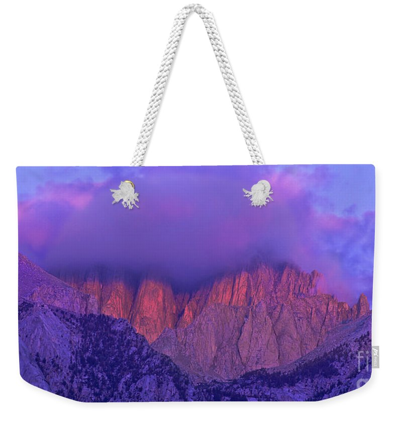 Eastern Sierras Weekender Tote Bag featuring the photograph Panorama Alpenglow On Mount Whitney Eastern Sierras California by Dave Welling