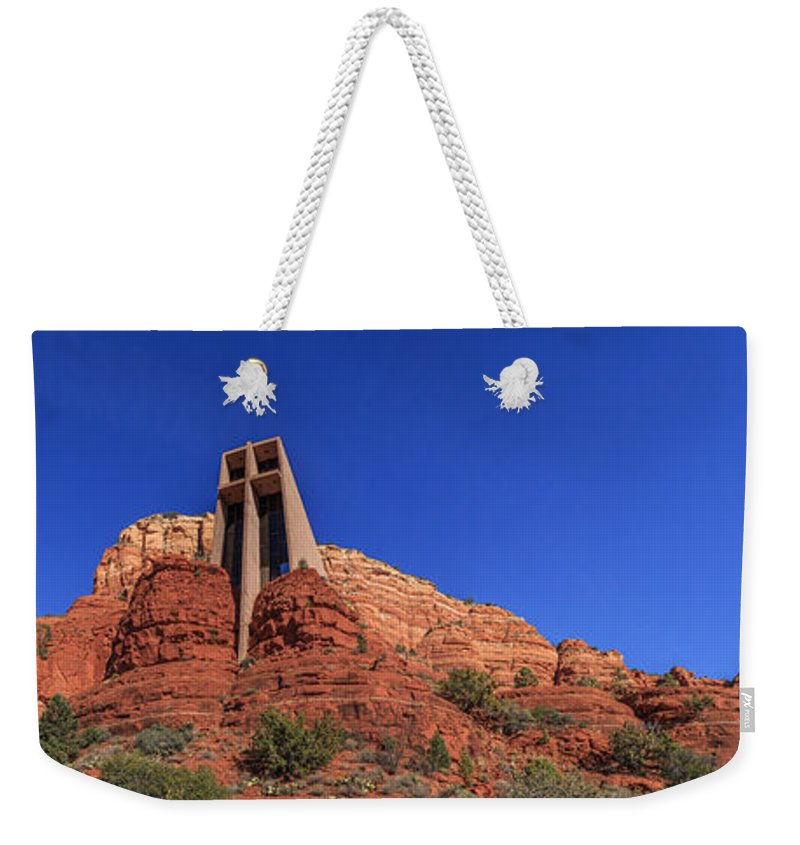 Cross Weekender Tote Bag featuring the photograph Panorama Chapel Of The Holy Cross Sedona Az by Scott Campbell