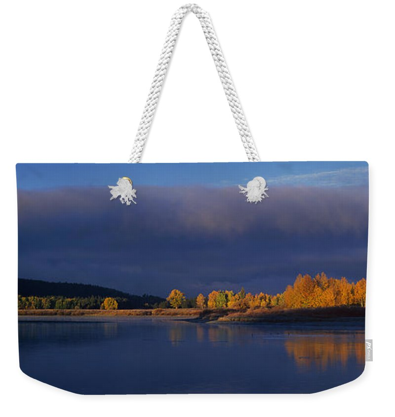 North America Weekender Tote Bag featuring the photograph Panorama Clearing Storm Oxbow Bend Grand Tetons National Park Wyoming by Dave Welling