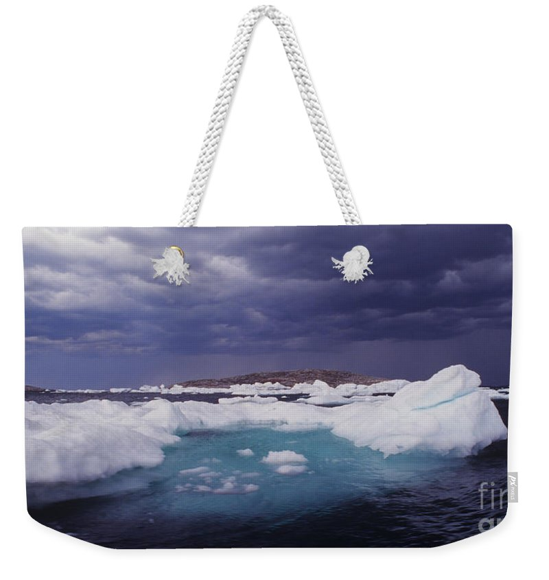 North America Weekender Tote Bag featuring the photograph Panorama Ice Floes In A Stormy Sea Wager Bay Canada by Dave Welling