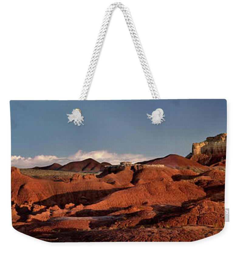 North America Weekender Tote Bag featuring the photograph Panorama Of Goblin Valley State Park Utah by Dave Welling