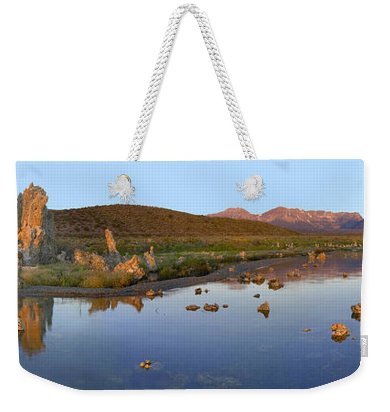 Feb0514 Weekender Tote Bag featuring the photograph Panorama Of Tufa Towers Mono Lake by Tim Fitzharris