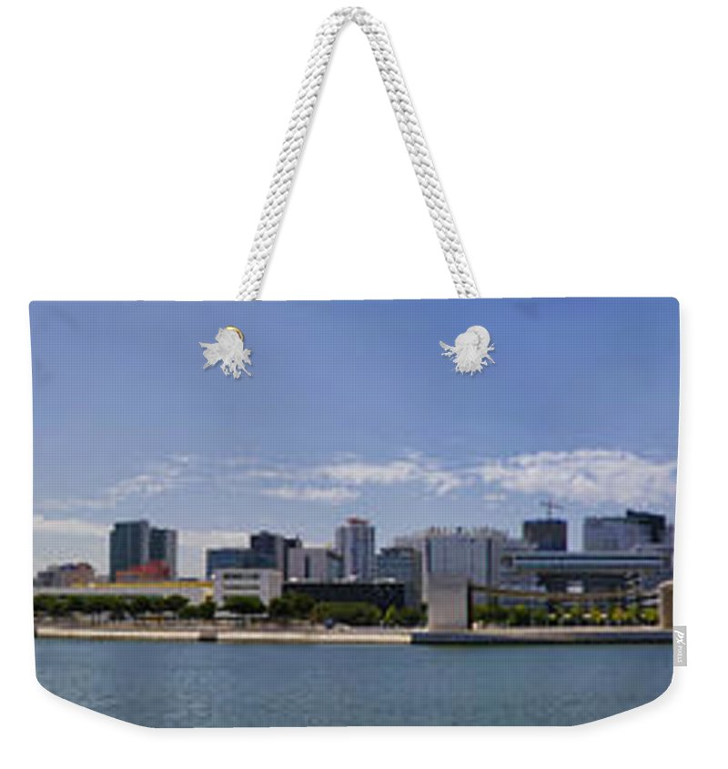 Marine Weekender Tote Bag featuring the photograph Panorama Over Lisbon Oceanarium by Paulo Goncalves