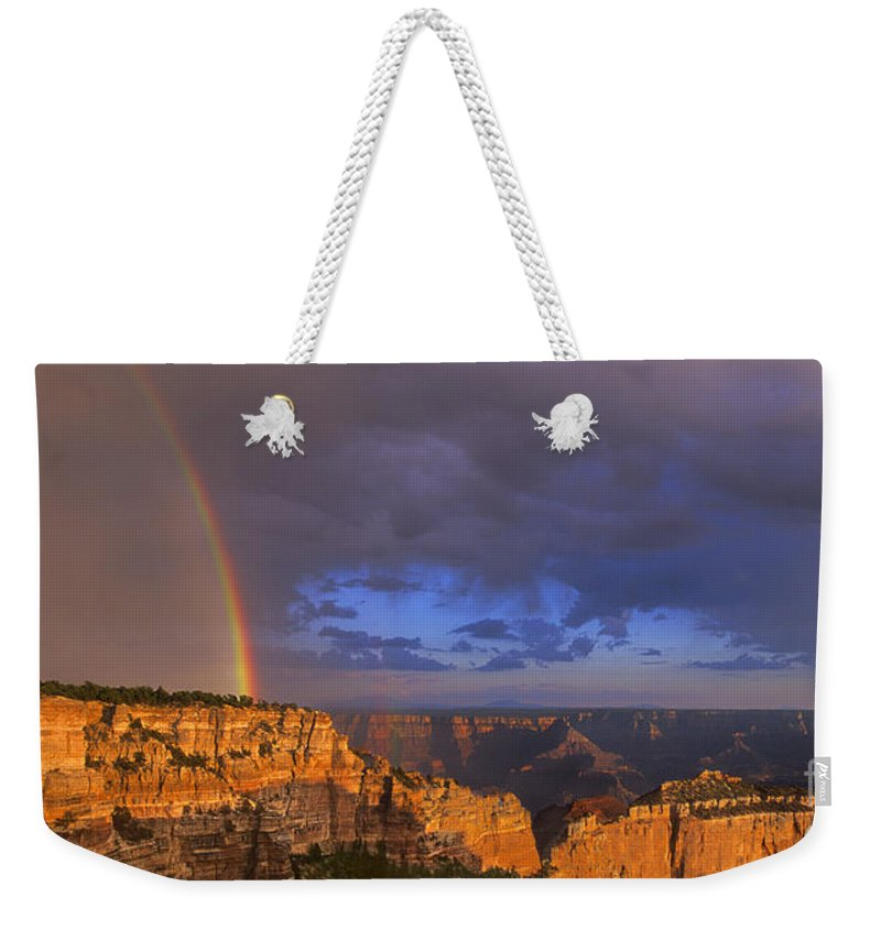 North America Weekender Tote Bag featuring the photograph Panorama Rainbow Over Cape Royal North Rim Grand Canyon National Park by Dave Welling