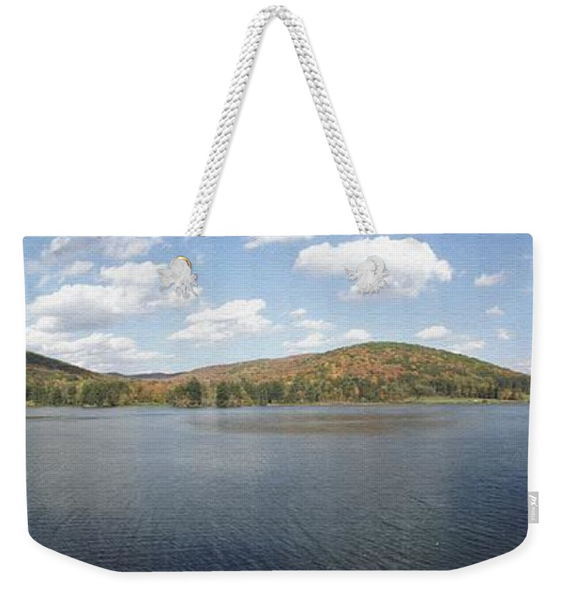 Panorama Weekender Tote Bag featuring the photograph Panorama Red House Lake Allegany State Park by Rose Santuci-Sofranko