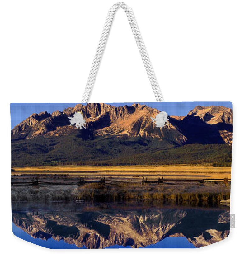 North America Weekender Tote Bag featuring the photograph Panorama Reflections Sawtooth Mountains Nra Idaho by Dave Welling