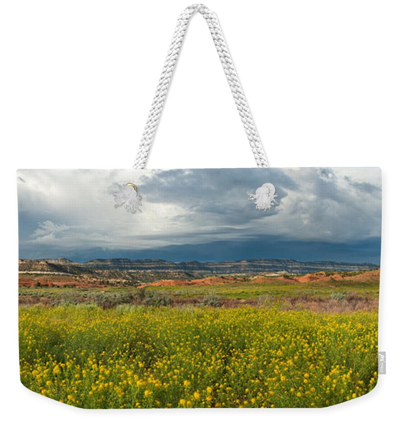 North America Weekender Tote Bag featuring the photograph Panorama Striaght Cliffs And Rabbitbrush Escalante Grand Staircase by Dave Welling