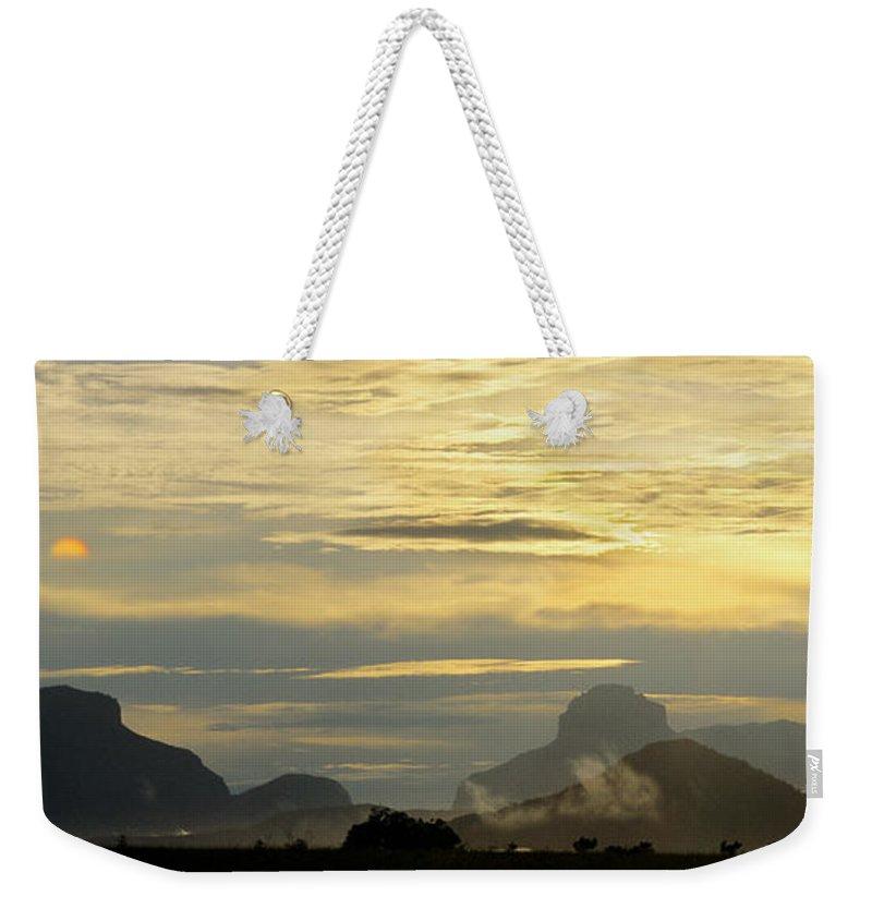 Venezuela Weekender Tote Bag featuring the photograph Panorama Sunset Aparaman And Towyen Tepuis Kavak Venezuela by Dave Welling