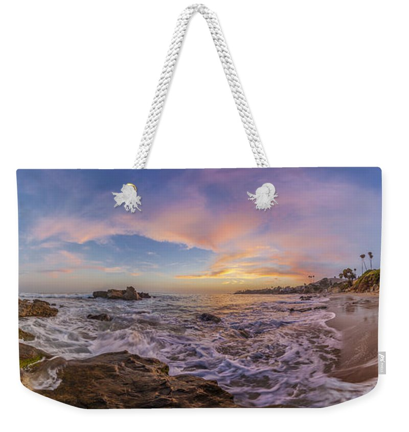 Laguna Beach Weekender Tote Bag featuring the photograph Panorama The Whole Way Round The Cove by Scott Campbell