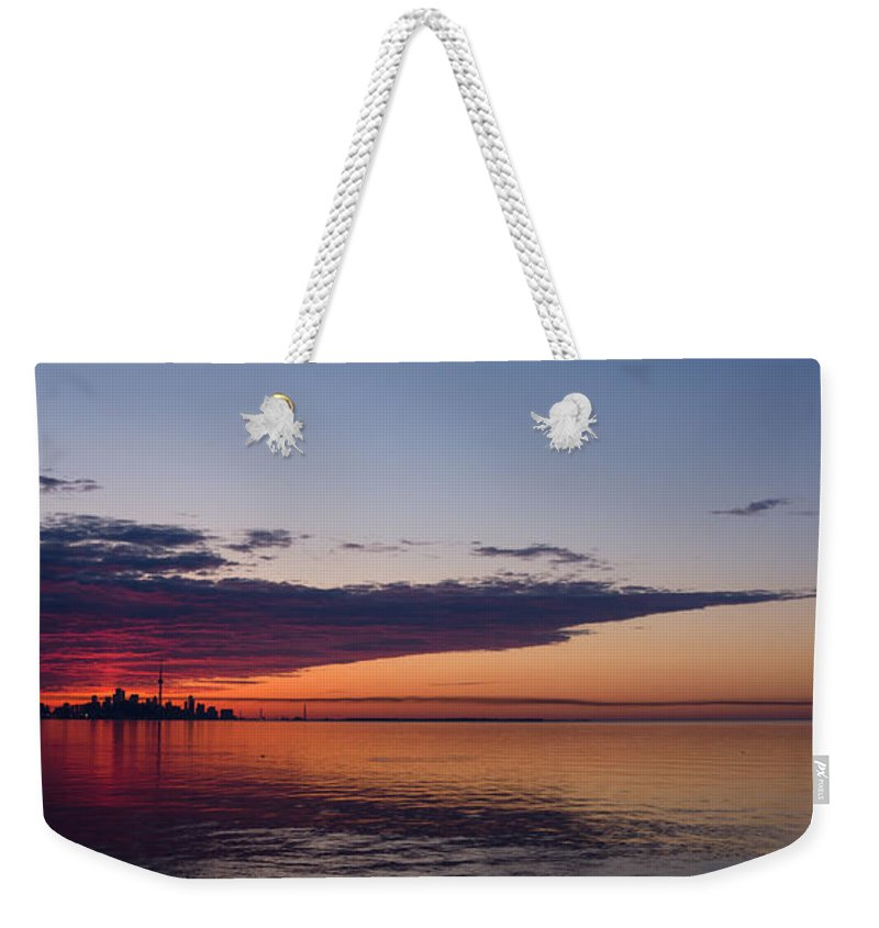 Sun Weekender Tote Bag featuring the photograph Panorama - Toronto Sunrise In June by Georgia Mizuleva