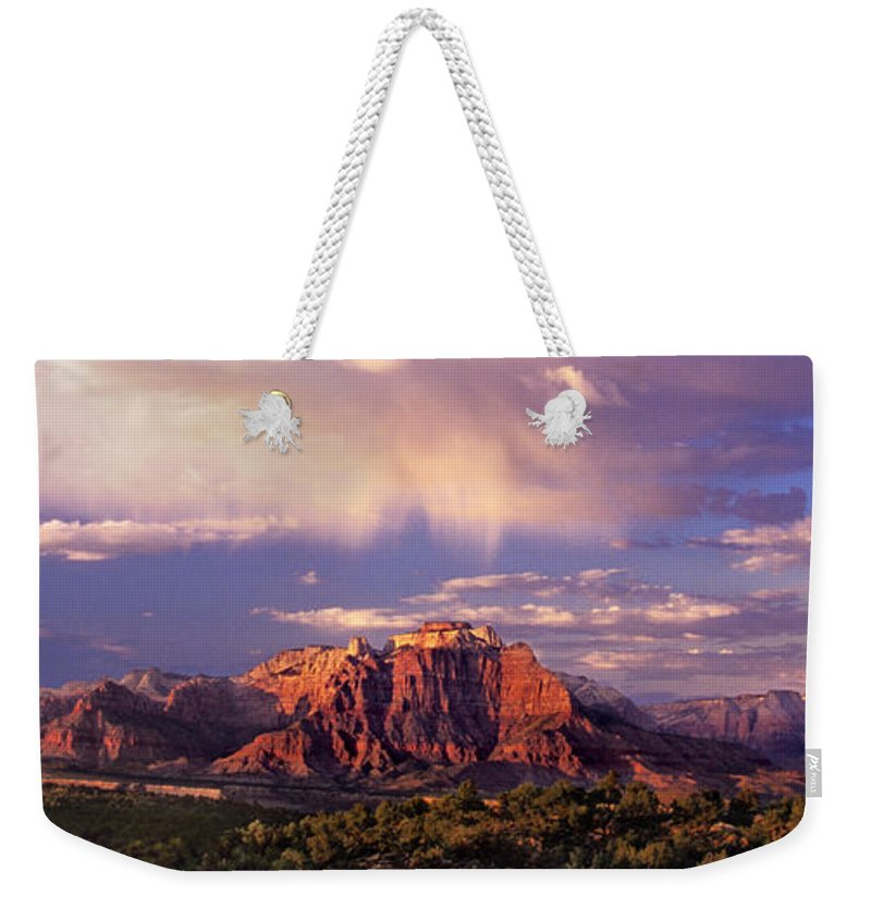 North America Weekender Tote Bag featuring the photograph Panorama West Temple At Sunset Zion Natonal Park by Dave Welling