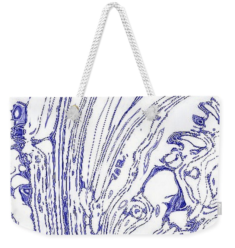Tsunami Weekender Tote Bag featuring the photograph Panoramic Grunge Etching Royal Blue Color by Joseph Baril