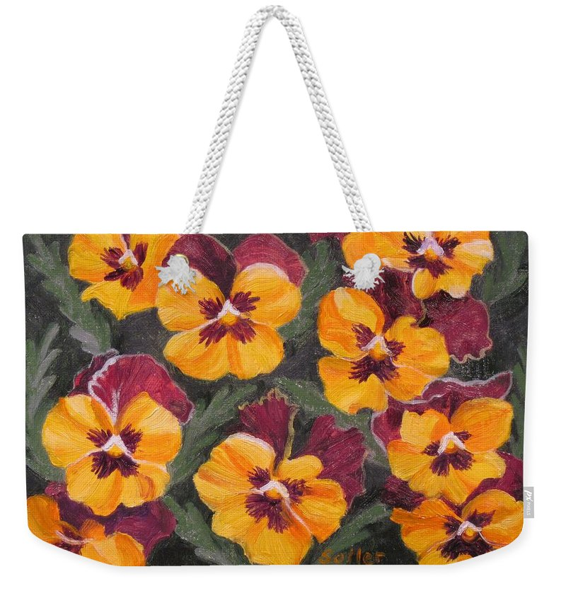 Ruth Soller Weekender Tote Bag featuring the painting Pansies Are For Thoughts by Ruth Soller