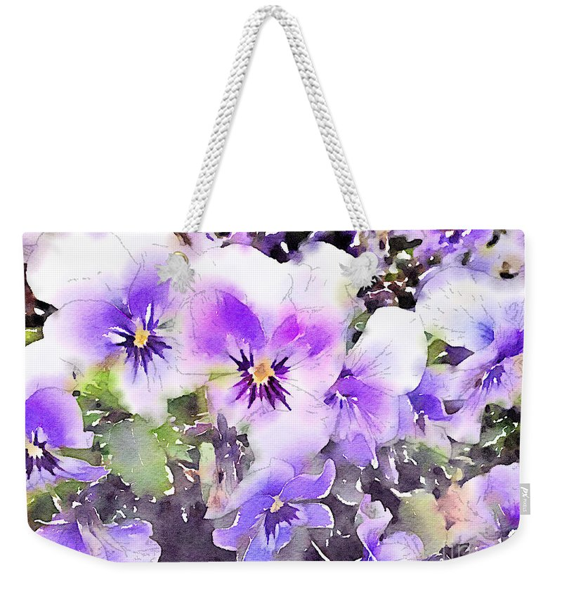 Pansies Weekender Tote Bag featuring the painting Pansies Watercolor by John Edwards