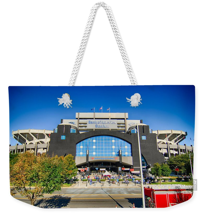 Carolina Weekender Tote Bag featuring the photograph Panthers Stadium by Alex Grichenko