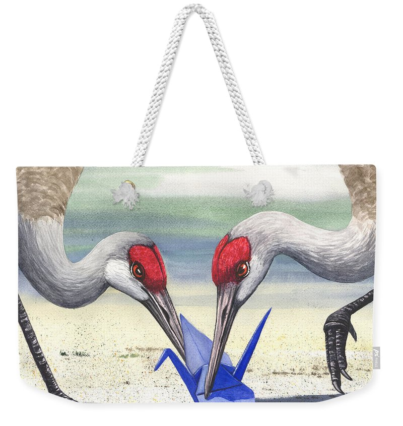 Origami Weekender Tote Bag featuring the painting Paper Crane by Catherine G McElroy