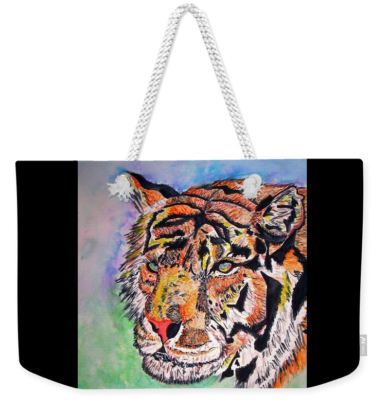 Abstract Weekender Tote Bag featuring the painting Paradise Dream by Crystal Hubbard