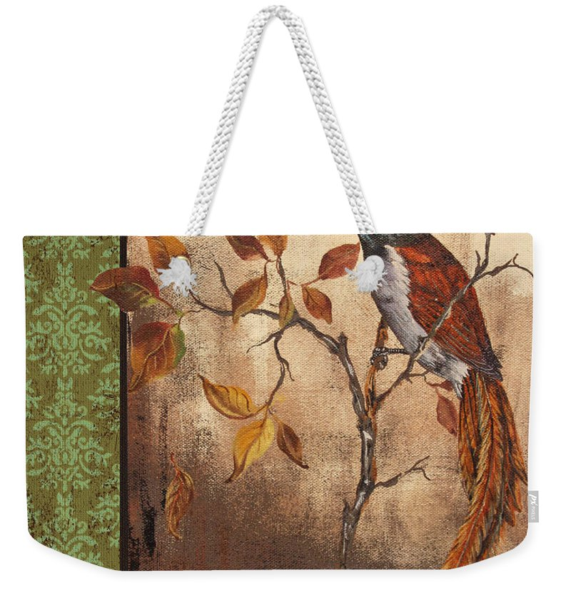 Acrylic Painting Weekender Tote Bag featuring the painting Paradise Flycatcher by Jean Plout