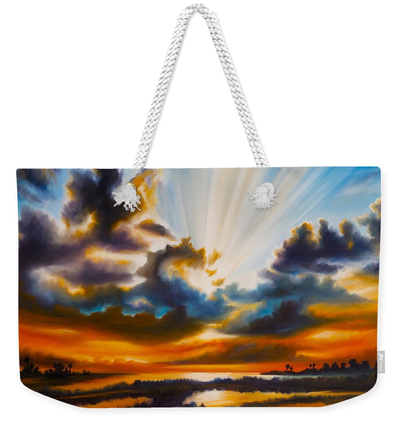 Sunrise Weekender Tote Bag featuring the painting Paradise by James Christopher Hill