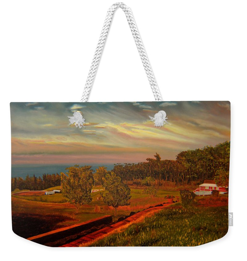 Landscape Weekender Tote Bag featuring the painting Paradise Road by Thu Nguyen