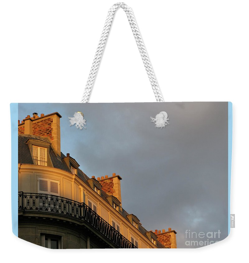 Paris Weekender Tote Bag featuring the photograph Paris At Sunset by Ann Horn