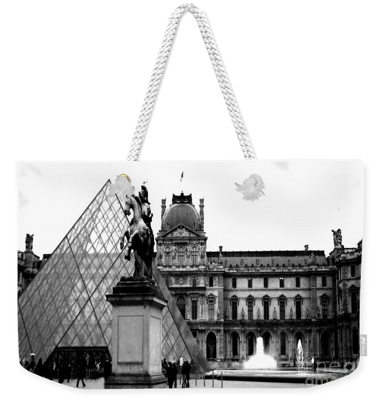 Paris Louvre Museum Prints Weekender Tote Bag featuring the photograph Paris Black And White Photography - Louvre Museum Pyramid Black White Architecture Landmark by Kathy Fornal