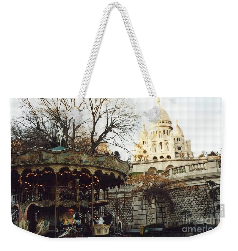 Paris Sepia Carousel Weekender Tote Bag featuring the photograph Paris Carousel Merry Go Round Montmartre - Carousel At Sacre Coeur Cathedral by Kathy Fornal