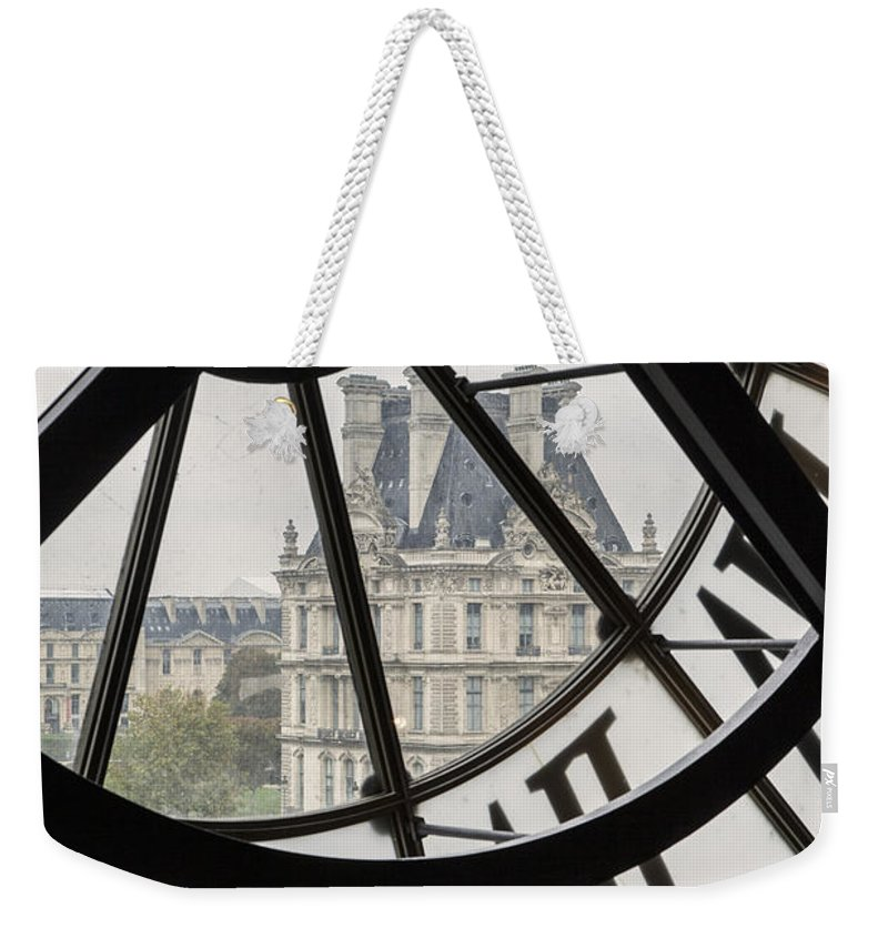 Architectural Weekender Tote Bag featuring the photograph Paris Clock by Brian Jannsen