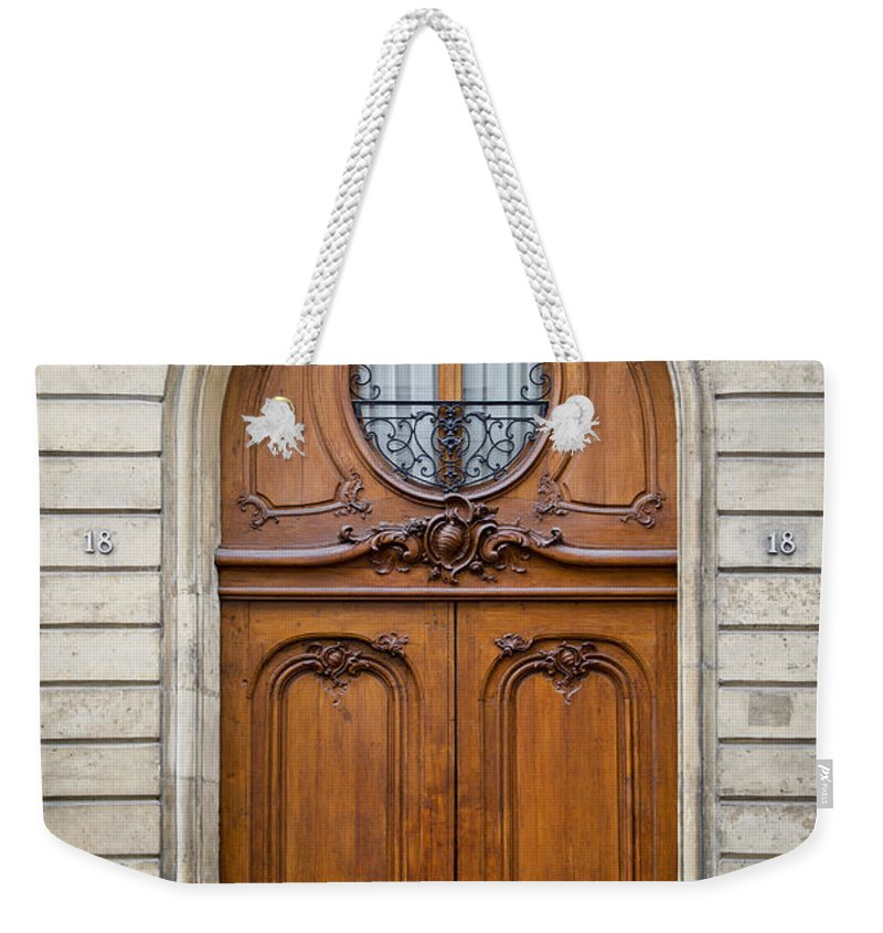 Arched Weekender Tote Bag featuring the photograph Paris Doors by Brian Jannsen