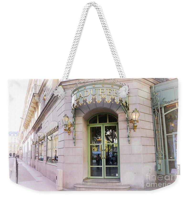Paris Laduree Patisserie Bakery Tea Shop - Paris Pink Pastel Laduree  Architecture Weekender Tote Bag