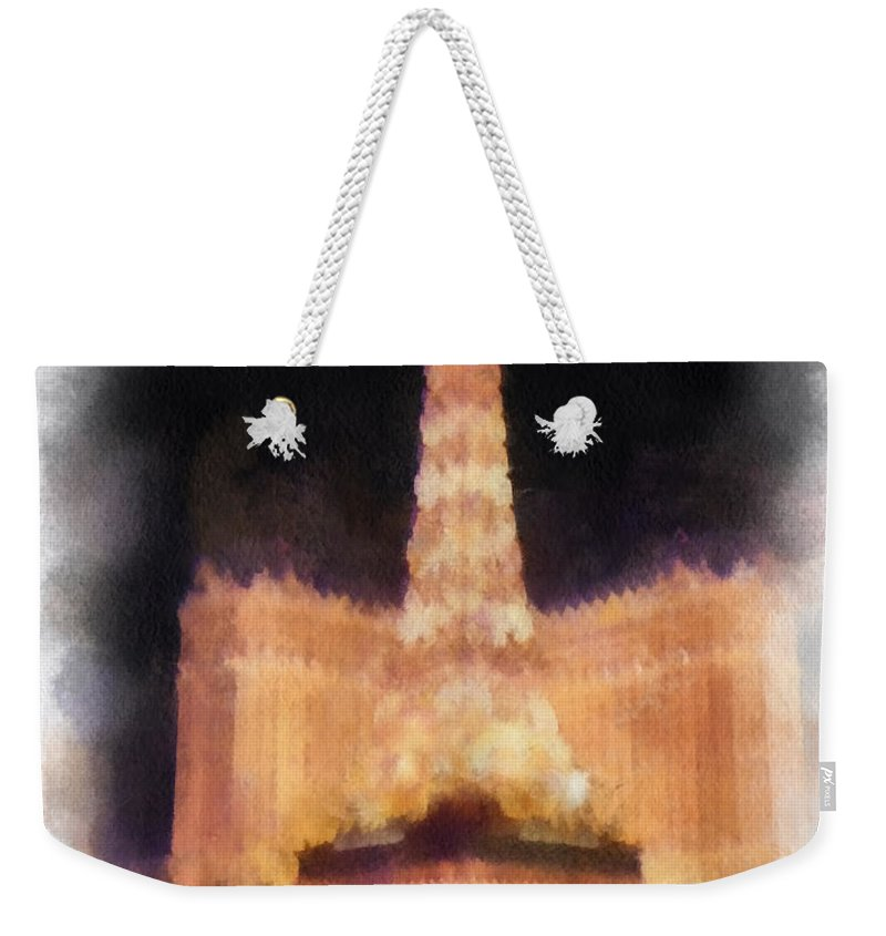 Eiffel Tower Paris Las Vegas Weekender Tote Bag featuring the photograph Paris Las Vegas Photo Art by Thomas Woolworth