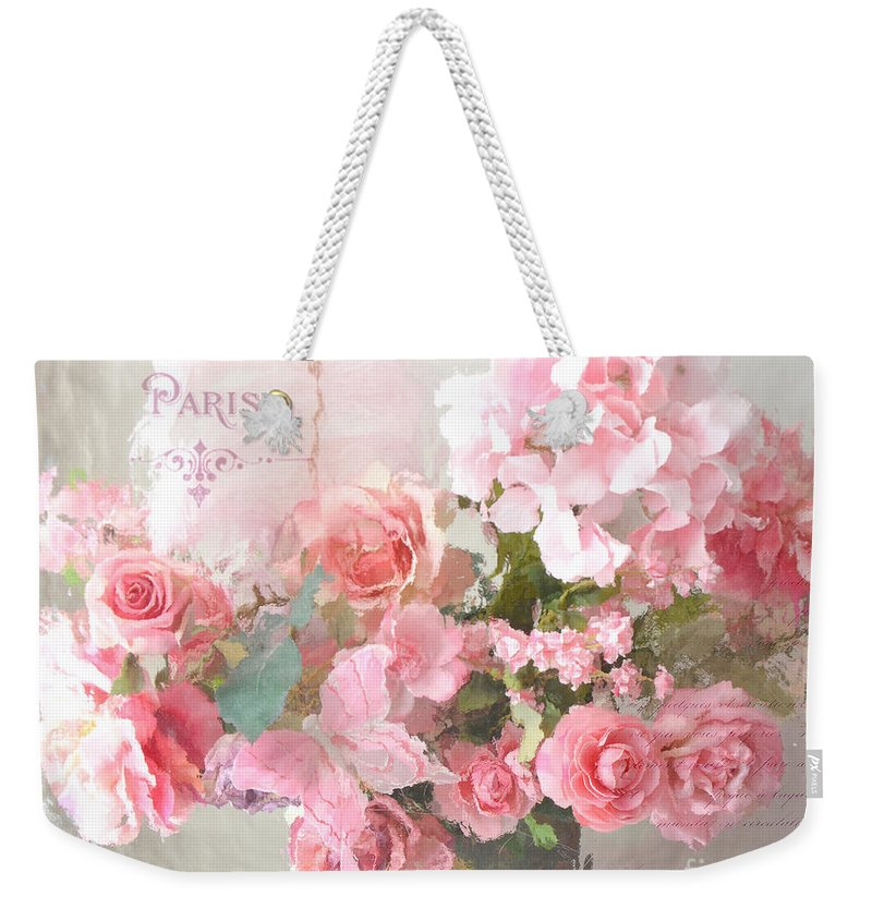 Roses Weekender Tote Bag featuring the photograph Paris Shabby Chic Dreamy Pink Peach Impressionistic Romantic Cottage Chic Paris Flower Photography by Kathy Fornal