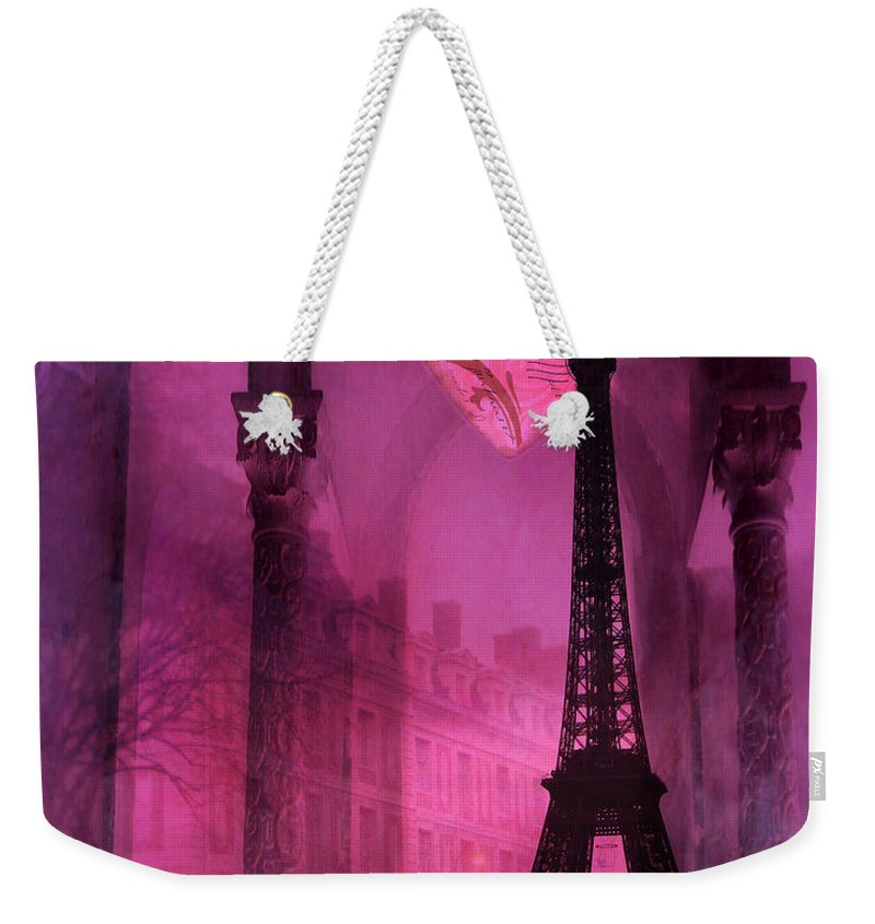 Paris In Love Weekender Tote Bag featuring the photograph Paris Romantic Pink Fantasy Love Heart - Paris Eiffel Tower Valentine Love Heart Print Home Decor by Kathy Fornal