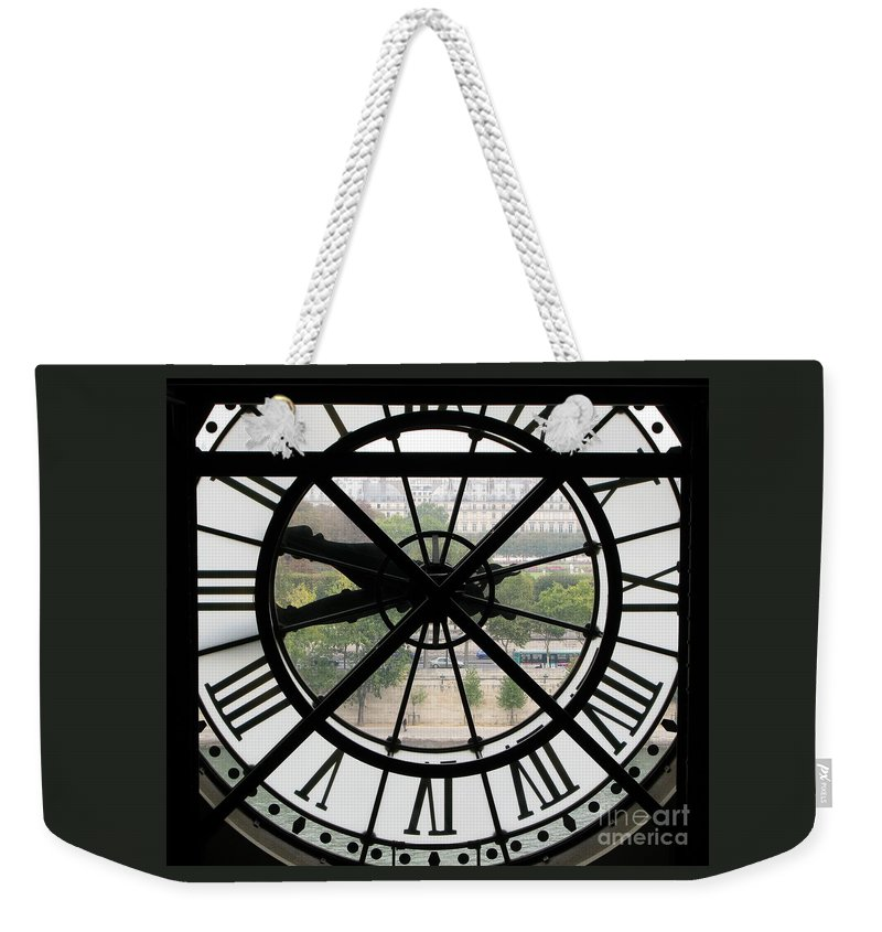 Clock Weekender Tote Bag featuring the photograph Paris Time by Ann Horn