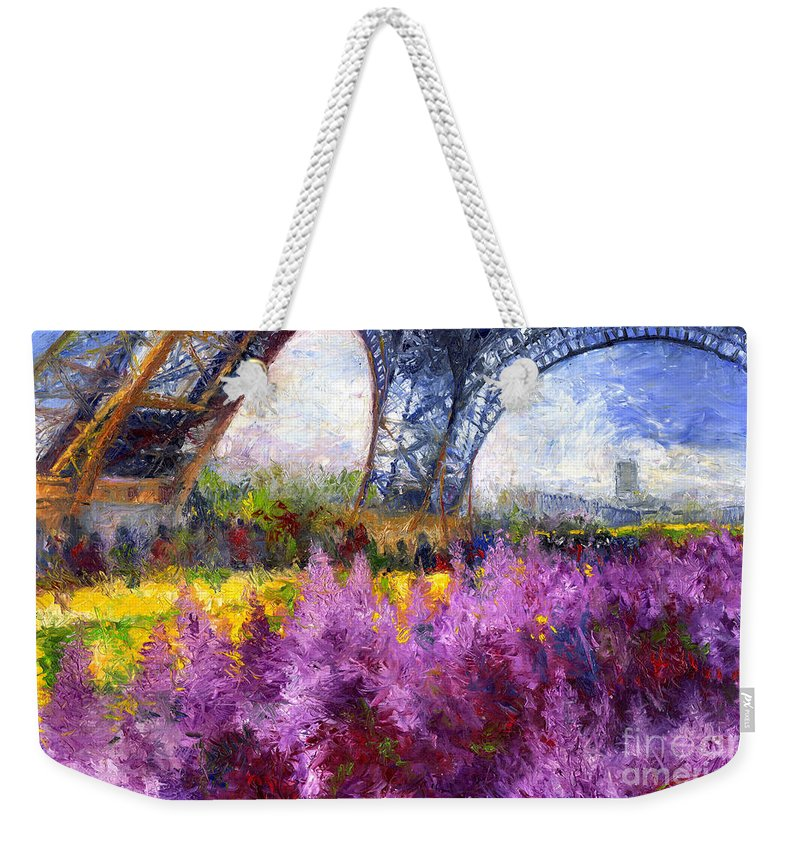 Oil Weekender Tote Bag featuring the painting Paris Tour Eiffel 01 by Yuriy Shevchuk