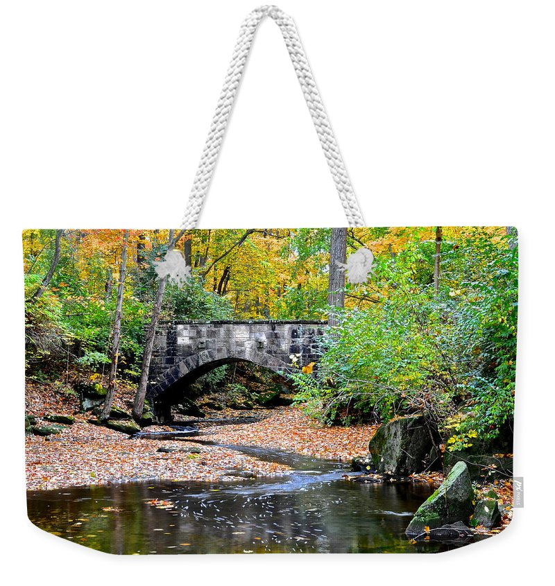 Park Weekender Tote Bag featuring the photograph Park Bridge by Frozen in Time Fine Art Photography