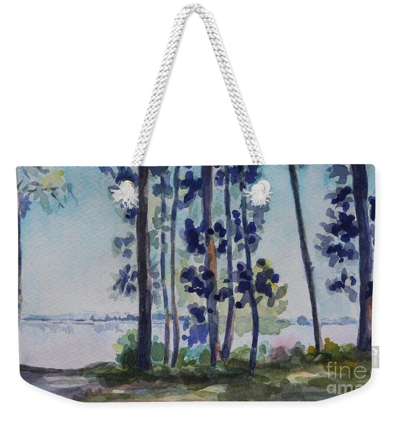 Nature Weekender Tote Bag featuring the painting Park On Harvard Two by Jan Bennicoff